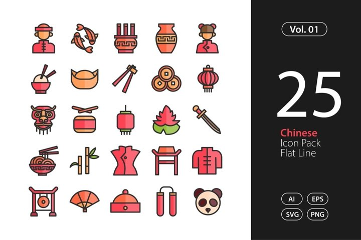 Chinese Icon Flat Line SVG, EPS, PNG
