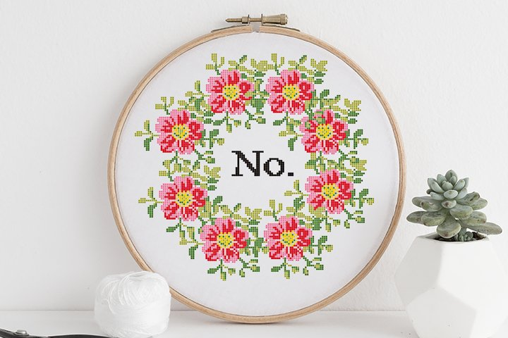 No Floral Wreath Modern Cross Stitch Pattern PDF