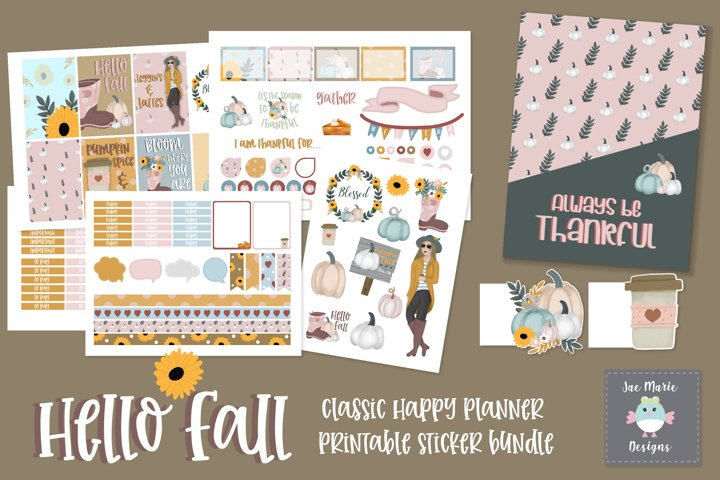 Fall planner stickers, printable planner sticker bundle
