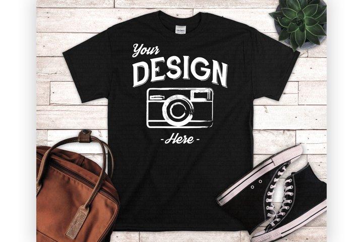 Black Tshirt Mockup Styled Flatlay Unisex T Shirt Display