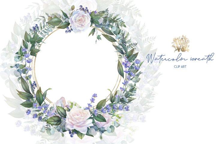 White rose watercolor wedding wreathm invitation clipart