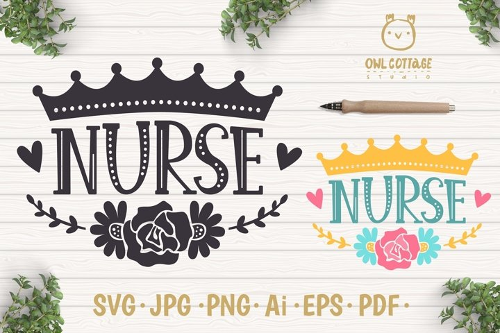 Nurse Crown with Flowers SVG, Nurse Floral SVG, Nurse Tattoo