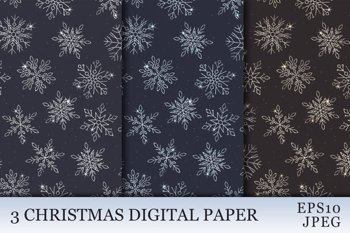 Shiny Snowflake Backgrounds. Winter digital paper.