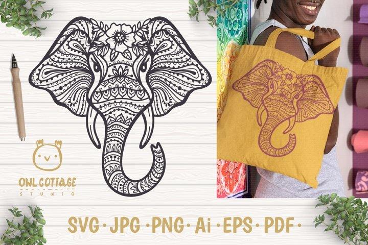 Elephant Mandala svg, Elephant Zentangle svg, Indian Elephan