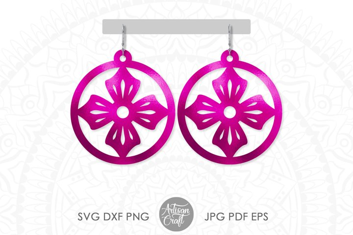 Earrings svg, floral earrings svg, Teardrop Earrings