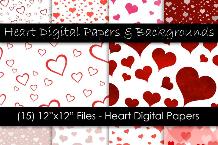 Heart Digital Paper & Backgrounds - Valentines Day Hearts