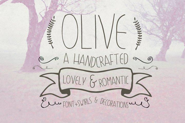 Olive Hand Drawn Font + Decorations