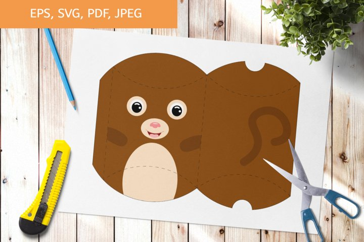 Cute Monkey Gift Pillow Box Template SVG, Gift Box SVG example