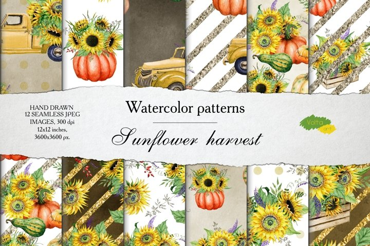 Watercolor seamless Fall patterns with Sunflower and pumpkin