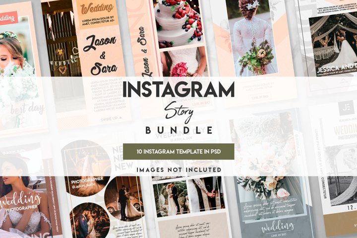 10 instagram wedding template set
