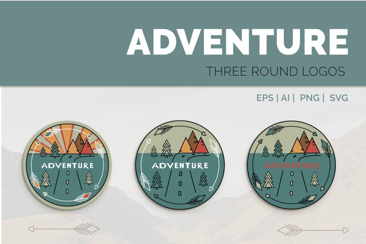 Adventure Graphic. Three round logos in doodle style