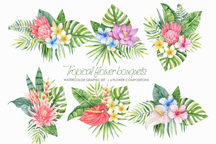 Watercolor Tropical Flowers Bouquets clipart. Exotic flowers