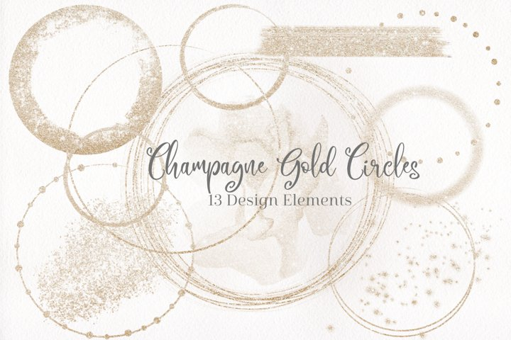 Champagne Gold Designs, Gold Circles, Gold Brush strokes