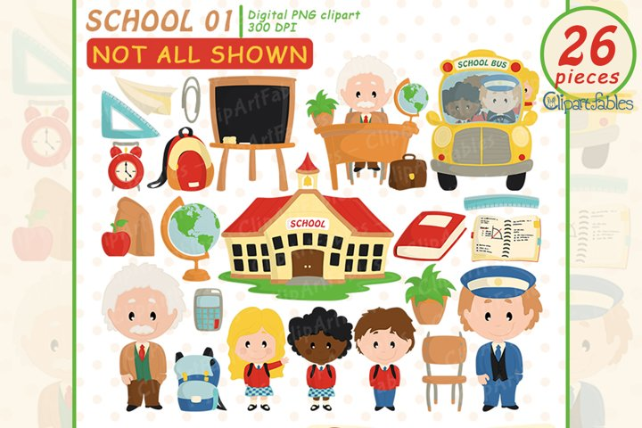BACK to SCHOOL clipart, Educational Clip art, School bus art