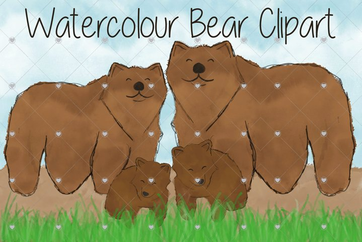 Watercolour, Bear, Animal, Animal Family, Brown bear, Bears,