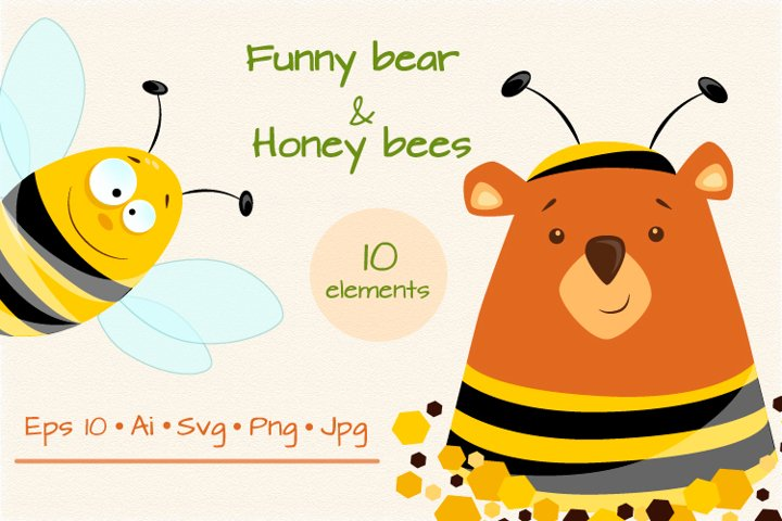 Set of funny designs of bear and honey bees
