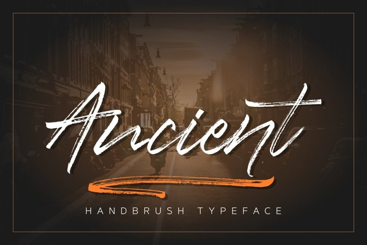 Ancient Handbrush Typeface example