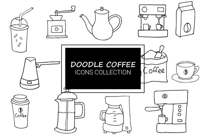 Doodle Coffee icons collection