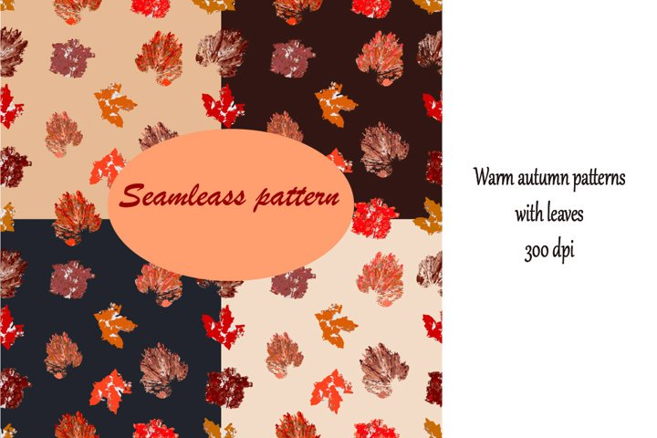 Autumn leaves Digital Paper, seamless patterns