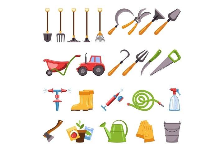 Farming equipment icons set, cartoon style