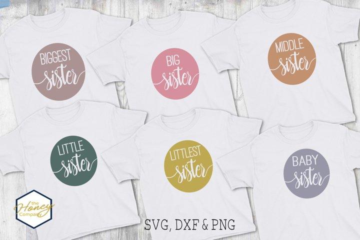Sister Big Little Family Bundle SVG PNG DXF Cutting File