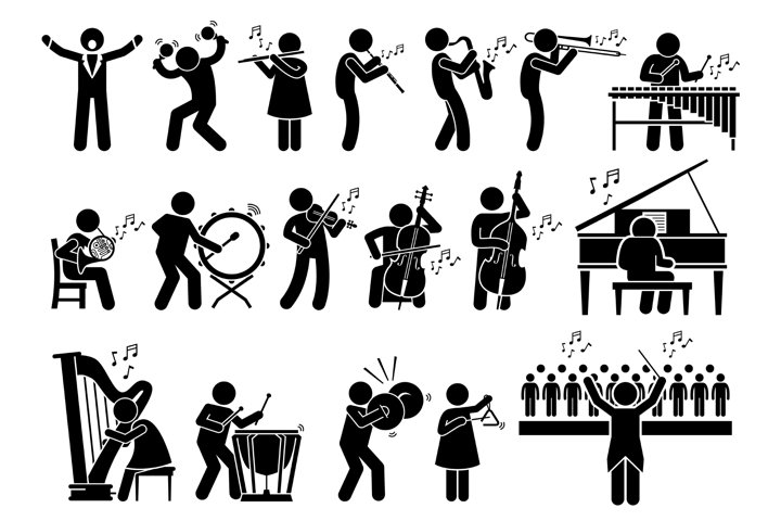 Orchestra Symphony Musicians with Musical Instruments Icons