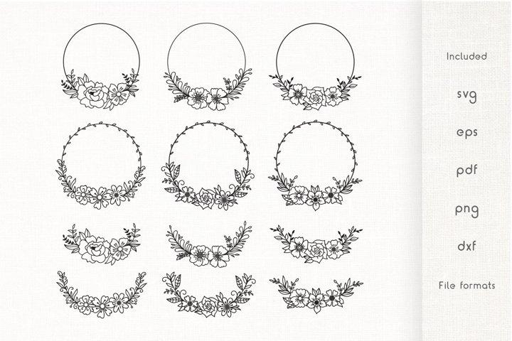 Floral Wreath SVG - Wreath Vector Cliparts