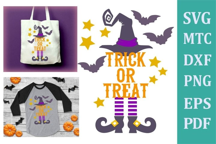 Witch Trick or Treat Halloween Craft Design #02 SVG Cut File