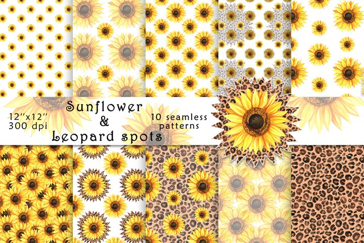 Sunflowers and Leopard Spots-Digital Paper-Seamless Patterns