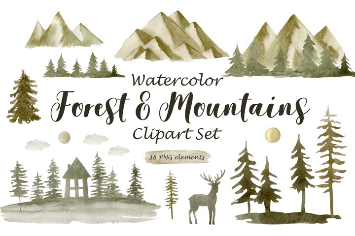 Watercolor Forest and Mountains.