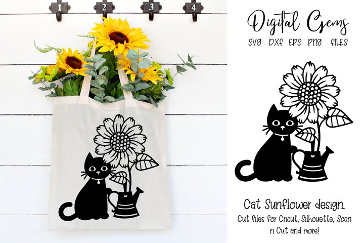 Cat sunflower and watering can design SVG / PNG / EPS / DXF