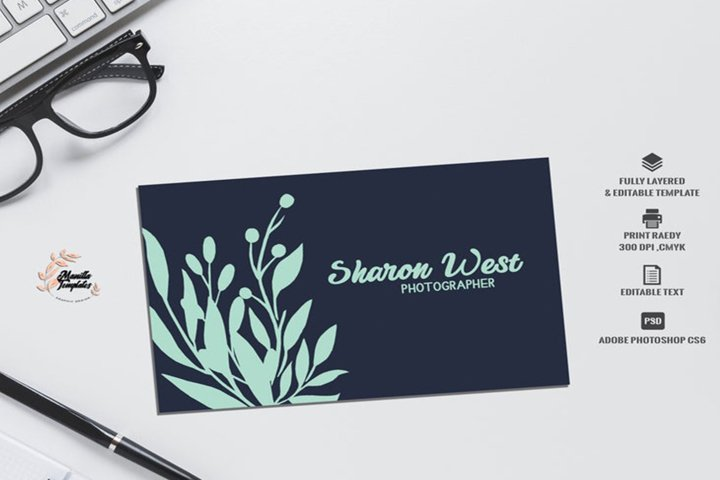 Navy mint Business card template