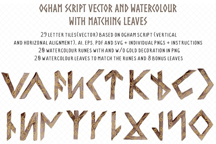 Ogham watercolour and vector rune set with tree leaves