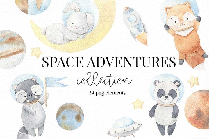 Space adventures - watercolor set