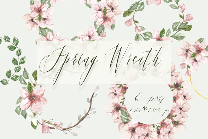 Pink flowers watercolor wreath, spring wedding wreath