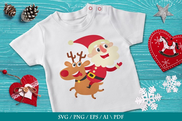 Merry Santa Claus on a red-nosed reindeer, SVG, PNG