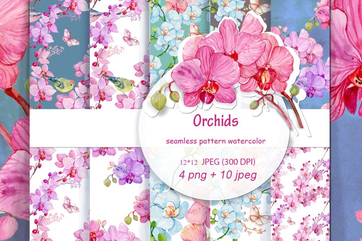 seamless pattern watercolor .Orchid