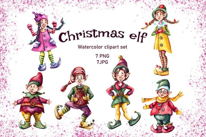 Christmas elf,Christmas gnomes,Christmas elf toy,Watercolor