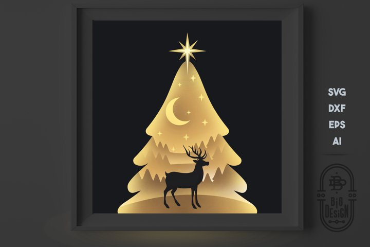 Christmas SVG 3D Scene, Layered Design - Paper Light Box
