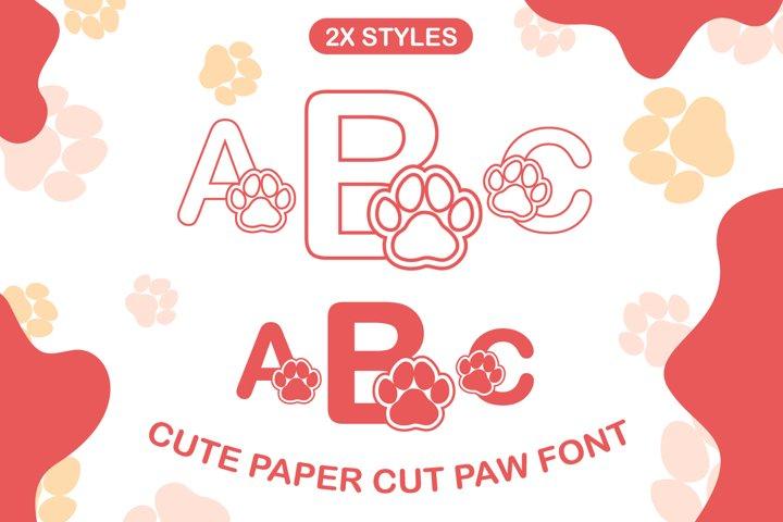 Mini Paw Cute Paper cut Style Coloring Book Font