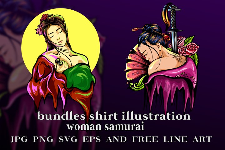 bundles vector samurai girl illustration