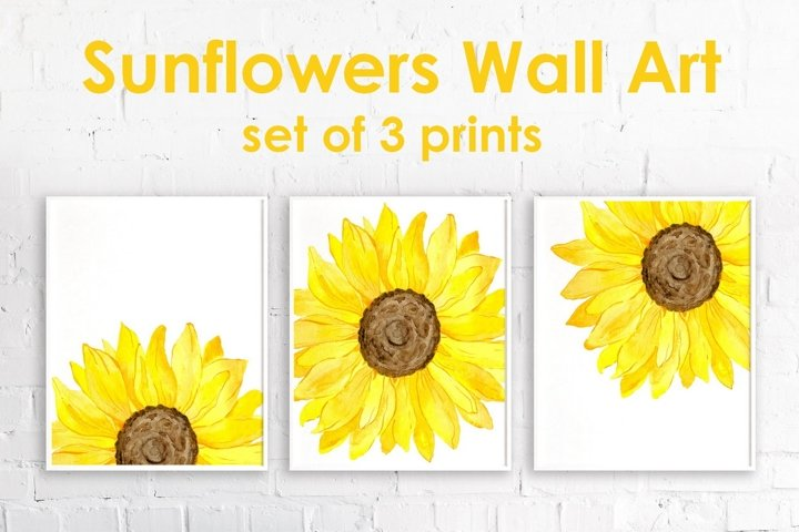 Watercolor Yellow Sunflowers Set of 3 Prints - Wall Decor