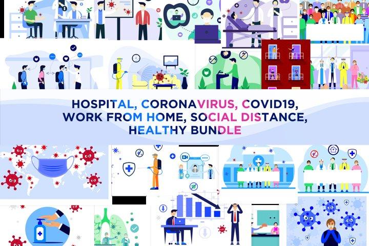 Coronavirus, Covid-19, Hospital flat Concept