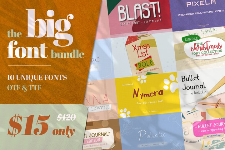 BIG Script Unique Font Duo Typeface Bundle Crafting Alphabet