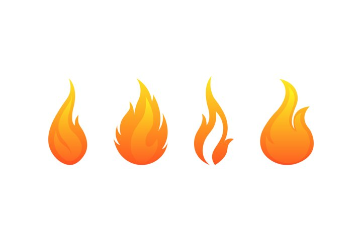Fire flames vector icons set. Flame bonfire symbol isolated