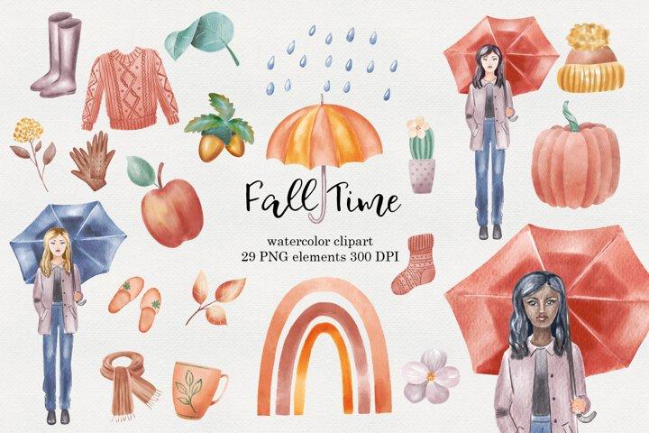 Fall fashion girl watercolor clipart