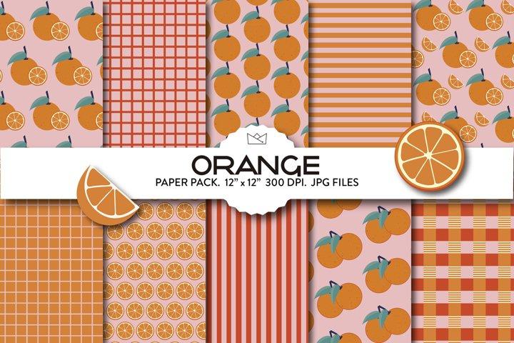 Cheerful citrus digital paper pack, orange pattern, fruits