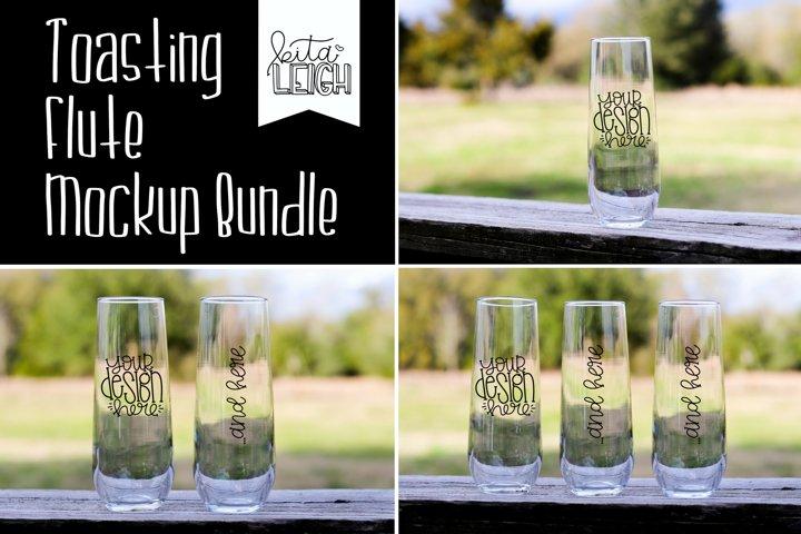 Bridal Party Toasting Flutes Mockup Bundle