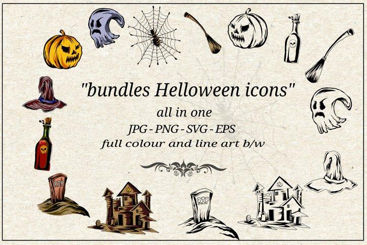 Halloween icon set bundles