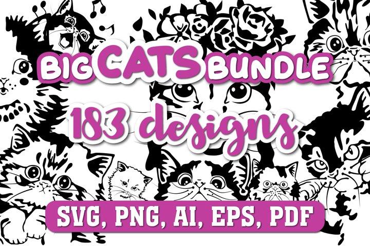 Big Cats Bundle. 183 Cat Portraits in SVG, PNG, eps, ai, pdf